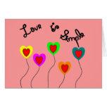 El amor es corazones del Simple-Globo Felicitación