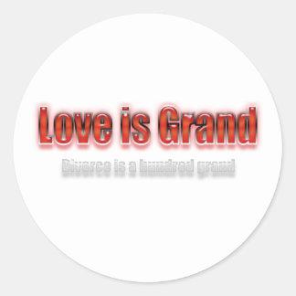 El amor es divorcio magnífico es cientos rojos pegatina redonda