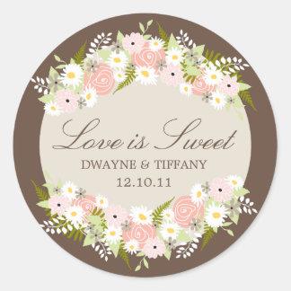 El amor es dulce - las flores pegatina redonda