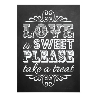 """El amor es dulce - muestra del boda de la pizarra invitación 5"""" x 7"""""""