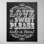El amor es dulce - muestra del boda de la pizarra póster