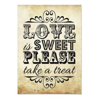 """El amor es dulce - muestra del boda del vintage invitación 5"""" x 7"""""""