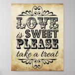 El amor es dulce - muestra del boda del vintage póster