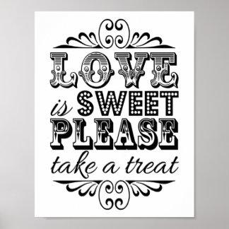 El amor es dulce - muestra negra y blanca del boda póster