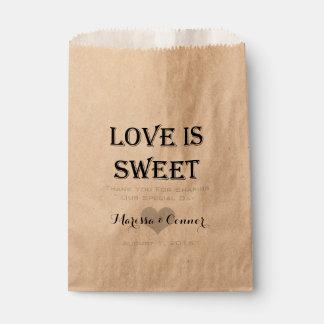 El amor es dulce personalizado casando el bolso bolsas de recuerdo