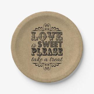 ¡El amor es dulce, toma por favor una invitación! Plato De Papel De 7 Pulgadas