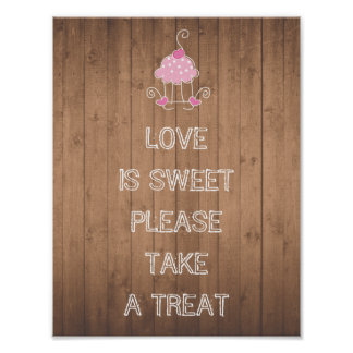 El amor es dulce toma por favor una invitación - póster