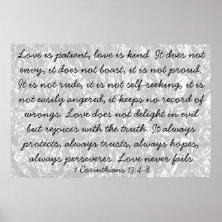 El amor es el 13:4 de los Corinthians del verso 1  Póster
