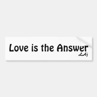 El amor es el negro de la respuesta en la pegatina pegatina para auto