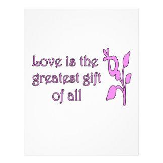 El amor es el regalo más grande plantilla de membrete