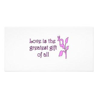 El amor es el regalo más grande plantilla para tarjeta de foto