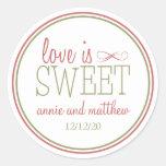 El amor es el verde dulce de las etiquetas (rojo p etiqueta redonda