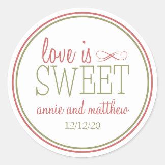 El amor es el verde dulce de las etiquetas (rojo etiqueta redonda