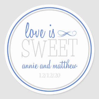 El amor es etiquetas dulces (azul/la plata) pegatina redonda