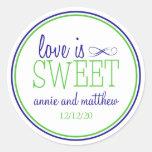 El amor es etiquetas dulces (azules marinos/la etiquetas redondas