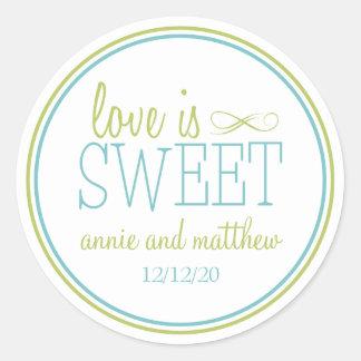 El amor es etiquetas dulces (chartreuses/el pegatinas redondas