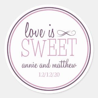 El amor es etiquetas dulces (ciruelo púrpura/la pegatina redonda