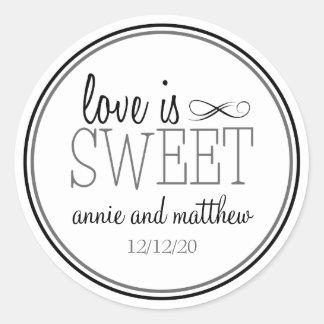 El amor es etiquetas dulces negro el gris