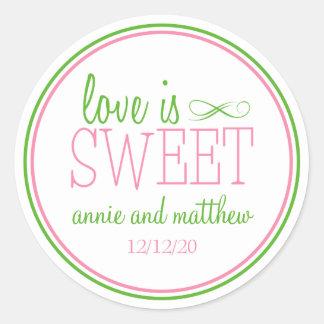 El amor es etiquetas dulces rosa la verde menta etiquetas redondas