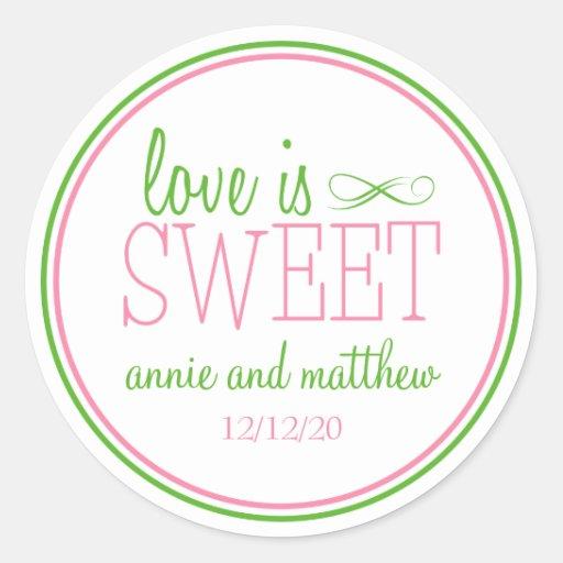 El amor es etiquetas dulces (rosa/la verde menta) pegatina redonda