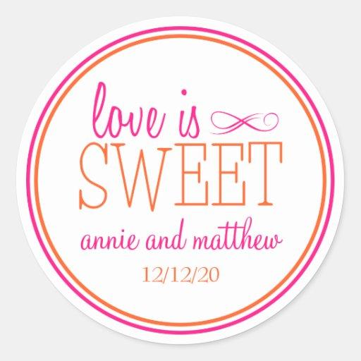 El amor es etiquetas dulces (rosas fuertes/el nara pegatina redonda