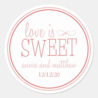 El amor es etiquetas dulces (se ruboriza/la tierra pegatina redonda