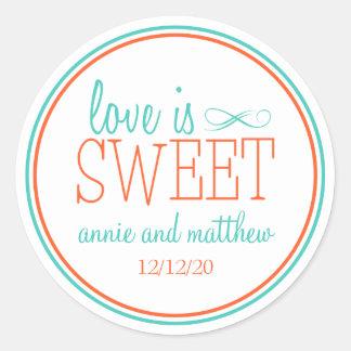 El amor es etiquetas dulces (trullo/el naranja) etiquetas redondas