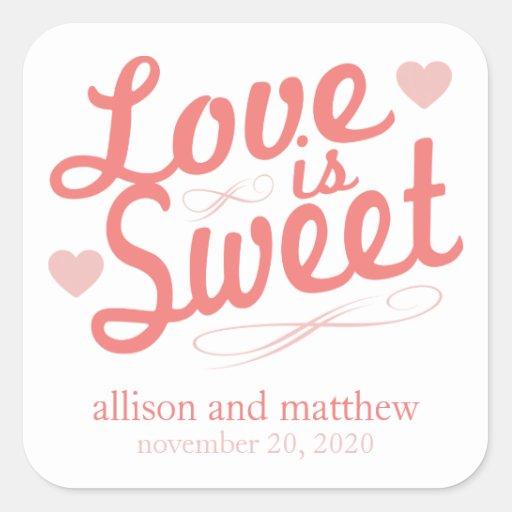 El amor es Fashioined viejo dulce (el rojo/se Calcomanías Cuadradas