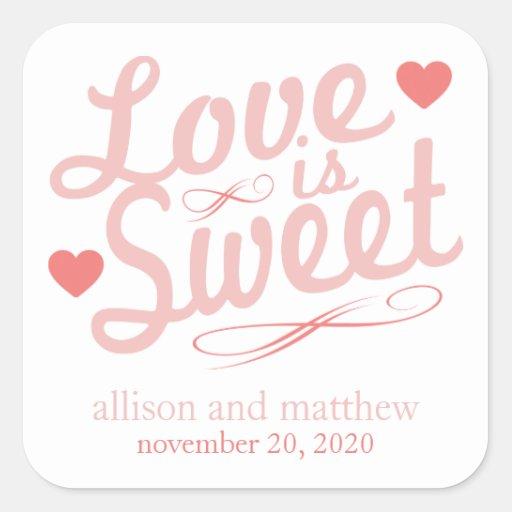 El amor es Fashioined viejo dulce (se ruboriza/el Pegatina Cuadradas Personalizadas