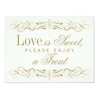 """El amor es Flourish antiguo dulce del oro de la Invitación 6.5"""" X 8.75"""""""