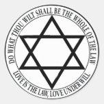 el amor es la ley pegatina redonda