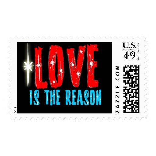 El amor es la razón de la estación del navidad timbre postal
