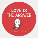 El amor es la respuesta etiqueta redonda