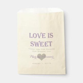 El amor es lavanda dulce y bolsos grises del boda bolsas de recuerdo