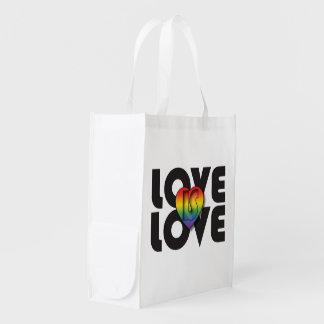 """El """"amor es Love y """"todo el amor es"""" bolso Bolsas De La Compra"""