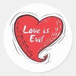 el amor es malvado etiquetas redondas