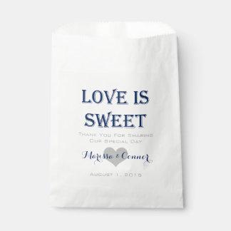 El amor es marina de guerra dulce y bolsos grises bolsa de papel