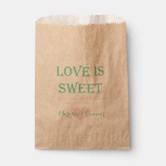 El amor es menta dulce y bolsos rosados del boda bolsas de recuerdo