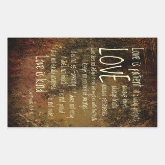 El amor es mezcla paciente pegatina rectangular