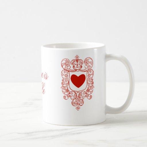 El amor es noble taza de café