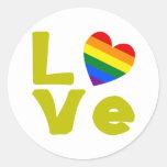 El amor es oro gay etiqueta redonda