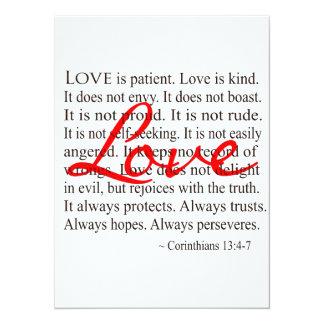 El amor es paciente, amor es bueno invitación 13,9 x 19,0 cm
