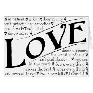 El amor es paciente, amor es bueno tarjeta de felicitación