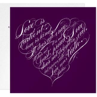 """El amor es paciente. corazón de la escritura de la invitación 5.25"""" x 5.25"""""""