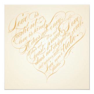 """El amor es paciente. corazón ligero de la invitación 5.25"""" x 5.25"""""""