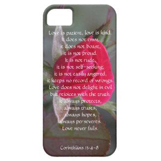 El amor es paciente, Corinthians, brote del rosa r iPhone 5 Case-Mate Fundas
