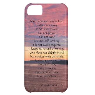 El amor es paciente, Corinthians, puesta del sol d Carcasa Para iPhone 5C