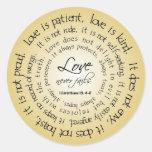 El amor es paciente, pegatina circular del boda de
