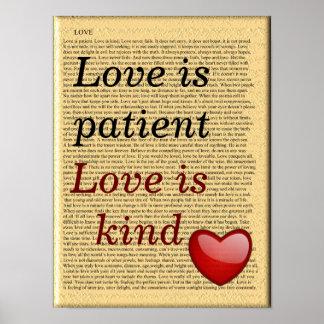 el amor es paciente - poster del arte