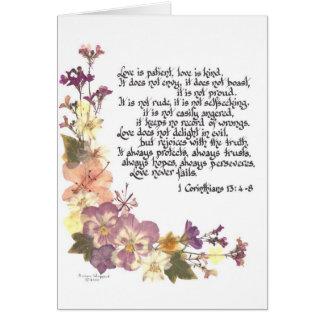 El amor es paciente tarjeta de felicitación